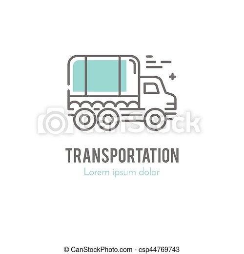 Logo, linie, lastwagen. Stil, fracht, ladung, gebrauch,... EPS ...