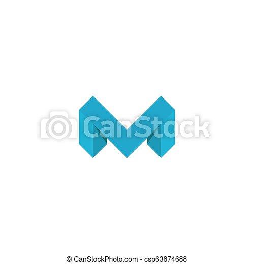 Logo M letter blue, 3D mockup isometric graphic design element, concept  geometric shape template