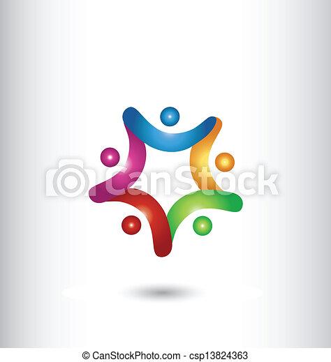 logo, mains, étoile, tenue, collaboration - csp13824363