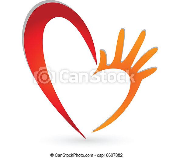 logo, mains, coeur - csp16607382