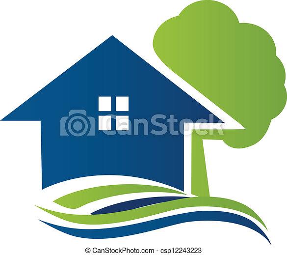 logo, maison, arbre, vagues - csp12243223