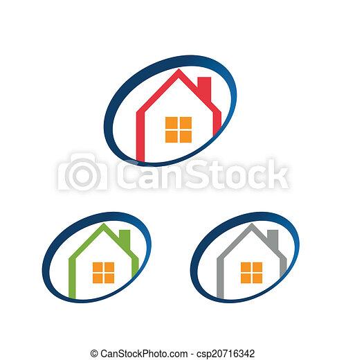 logo, maison, maison, icône - csp20716342