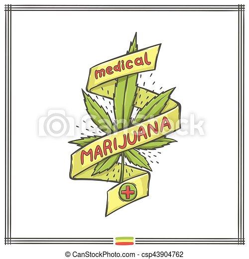 logo, medisch, acht, marihuana - csp43904762