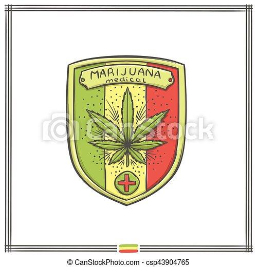 logo, medisch, vijf, marihuana - csp43904765