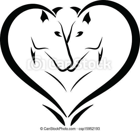 logo, miłość, stylizowany, konie - csp15952193