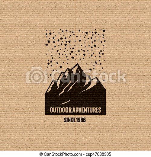 logo, montagne, étoilé, sky. - csp47638305