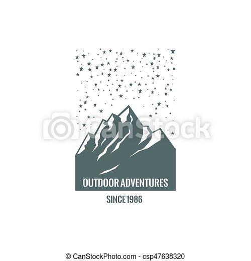 logo, montagne, étoilé, sky. - csp47638320
