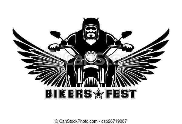 Dessin De Motard logo, motard. vélo, symbole, course, emblème, illustration, motard