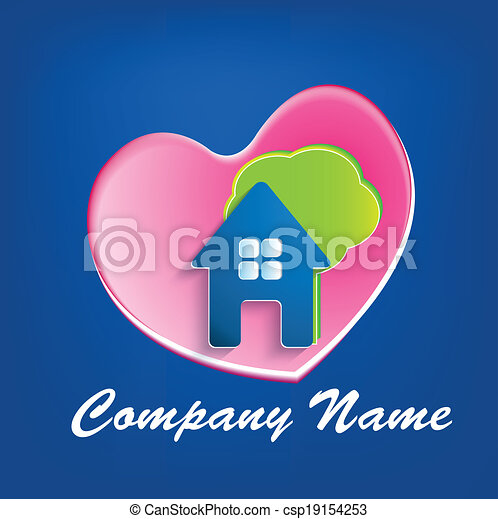 Logo of house heart tree  - csp19154253