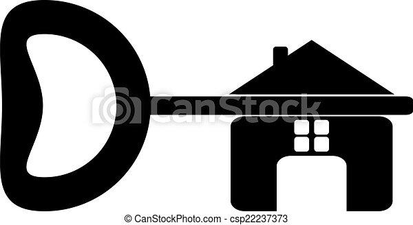 Logo of the builder, house key isolated on white background. Hou - csp22237373