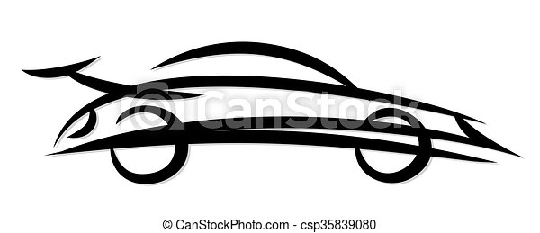 Logo of the fast car. . Logo of the fast sports car.