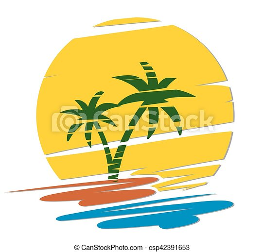 logo of tropical island logo of the tropical island at dawn sun rh canstockphoto com tropical island clip art free cartoon tropical island clipart