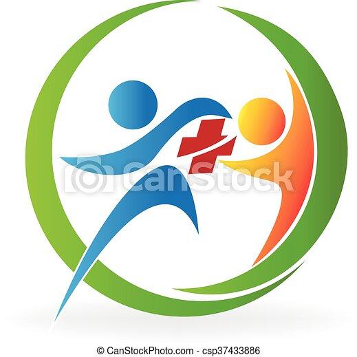 logo, omsorg, hälsa, teamwork - csp37433886