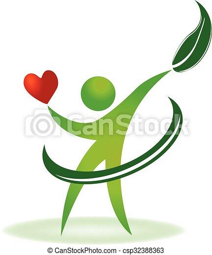 logo, omsorg, sundhed, natur, hjerte - csp32388363