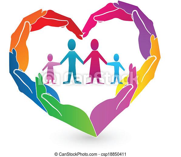 logo, räcker, familj, hjärta - csp18850411