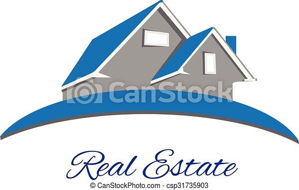 Logo Real estate blue house - csp31735903
