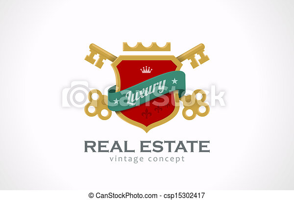 Logo Real Estate Vintage Luxury. Keys and shield with ribbon. - csp15302417