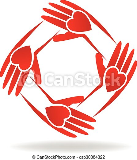Logo red hands - csp30384322