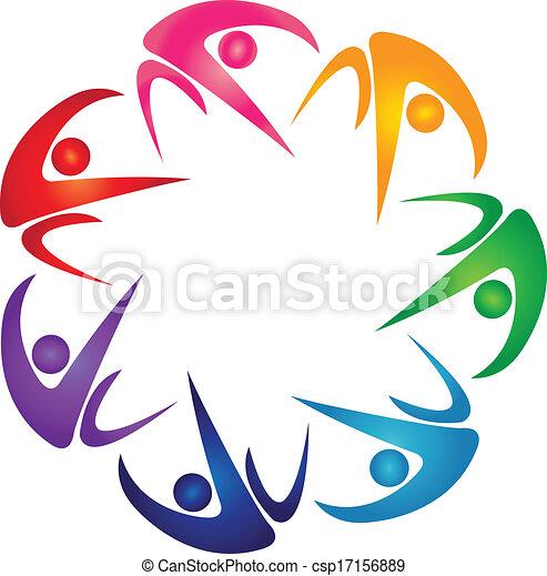 logo, siódemka, grupa, barwny, ludzie - csp17156889