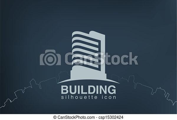 Logo skyscraper modern building. Real Estate logotype. - csp15302424