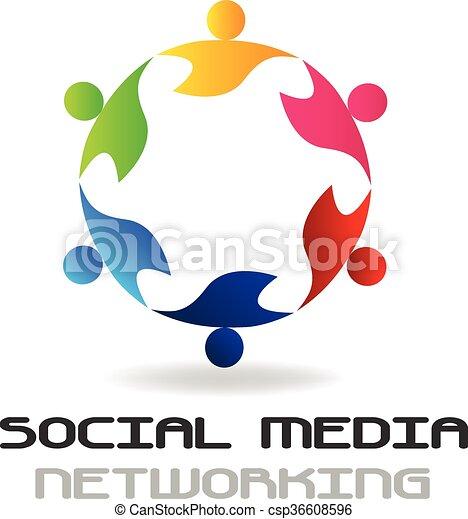logo, sociaal, teamwork, media - csp36608596
