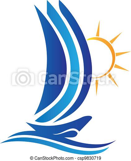 logo, soleil, vecteur, bateau, vagues - csp9830719