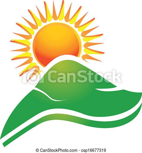 Sonne mit Swoosh-Strahlen und Hügel-Logo - csp16677319