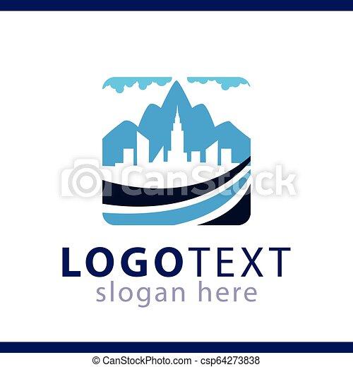 logo, stad, vector, mal, berg - csp64273838
