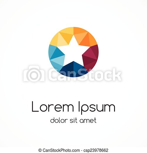 Logo Star Template Abstract Circle Color Creative Sign Symbol With