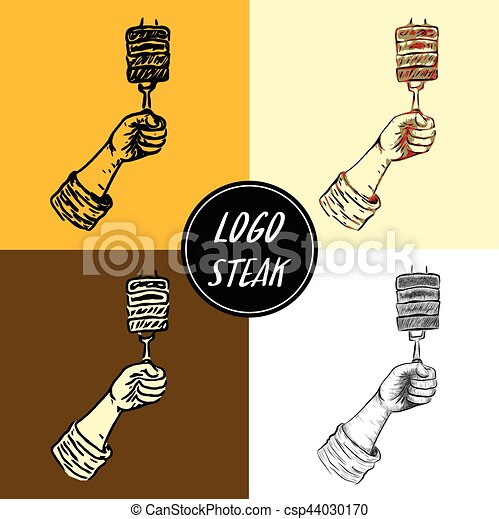 Logo steak by hand drawing - csp44030170