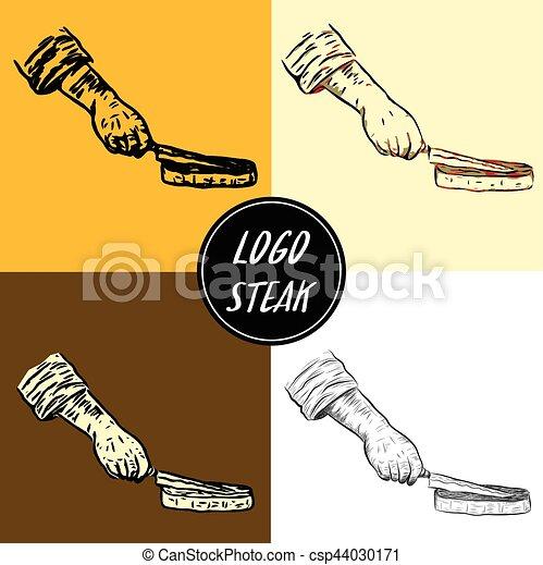 Logo steak by hand drawing - csp44030171