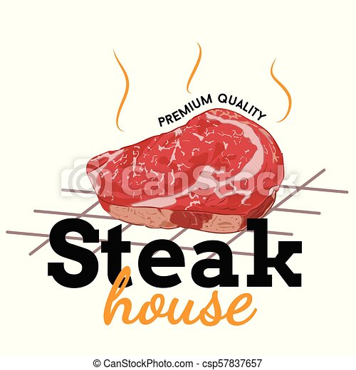 logo steak house text and meat vector cartoon with white background https www canstockphoto com logo steak house text and meat vector 57837657 html