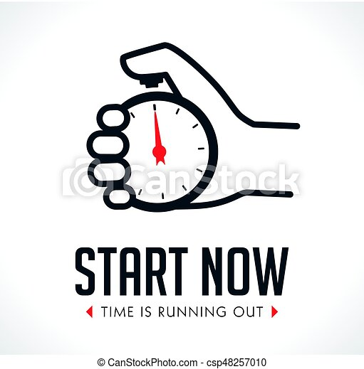 Logo - stopwatch in hand - start concept vector clip art ...
