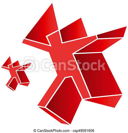 Logo symbol emblem red man human figure - csp49591606