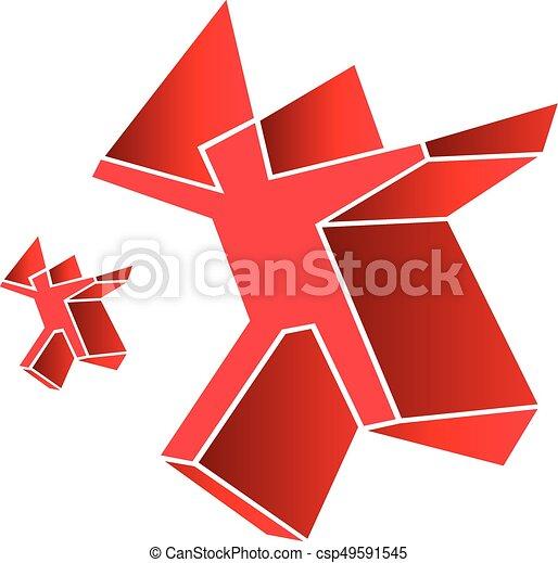 Logo symbol emblem red man human figure - csp49591545