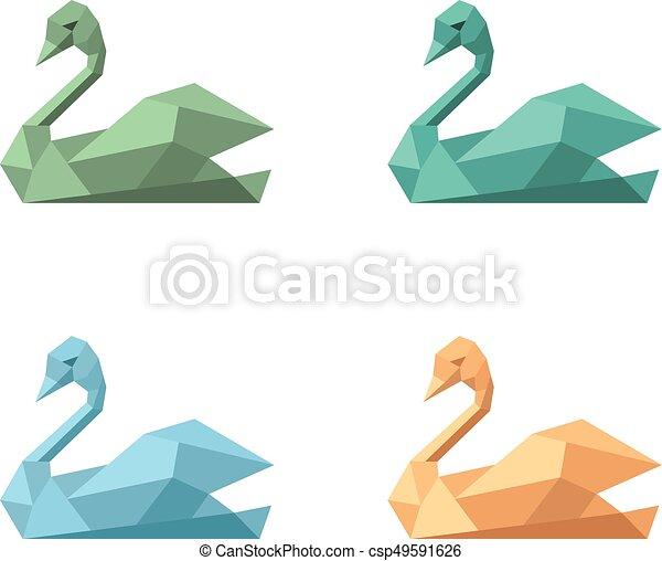 Logo symbol emblem swan variations set - csp49591626