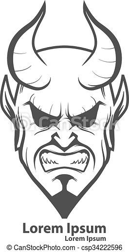 Logo t te diable diable th tre illustration concept simple id e quipe sportive t te - Dessin de demon ...