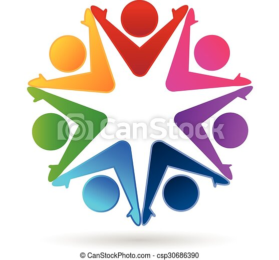 logo teamwork colorful people working together success eps rh canstockphoto com