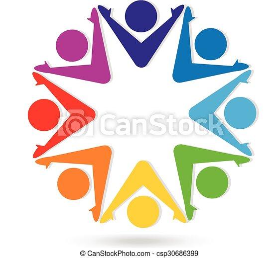 Logo teamwork colorful people - csp30686399