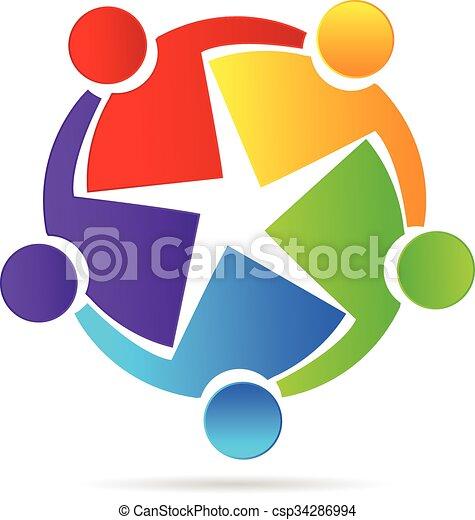 Logo Teamwork Concept Of Friendship Vector Teamwork Concept Of