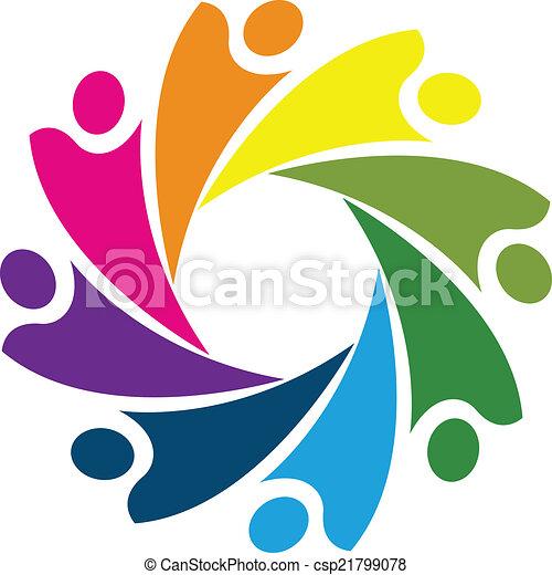 Logo teamwork cooperation concept - csp21799078