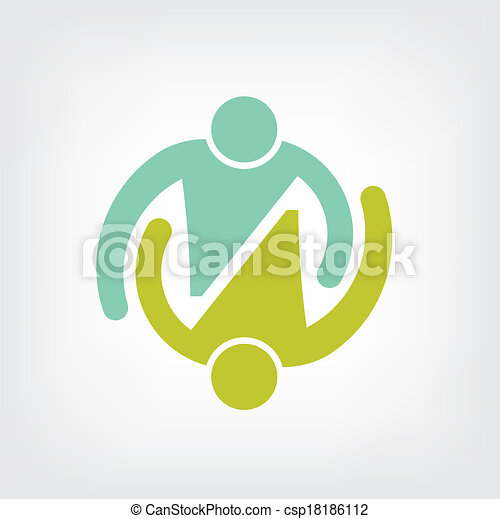Logo Teamwork embrace couple - csp18186112