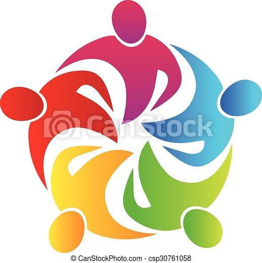 Logo teamwork hug  - csp30761058
