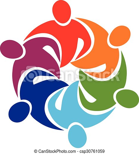 Logo teamwork hug  - csp30761059