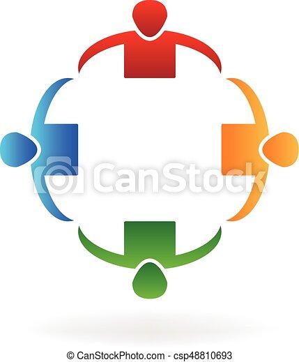 Logo teamwork people holding hands - csp48810693
