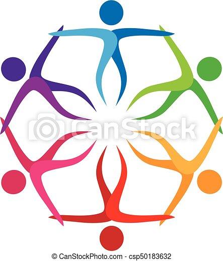 Logo teamwork people in a hug - csp50183632