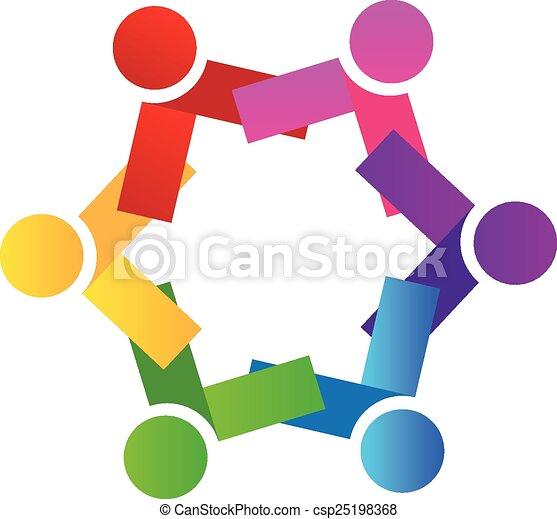 Logo teamwork people vector - csp25198368