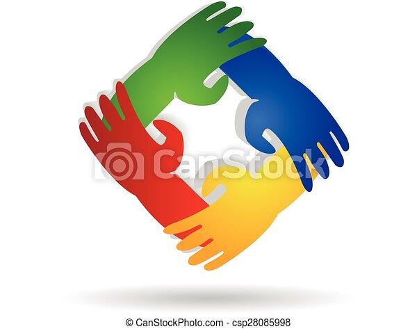 logo, teamwork, räcker - csp28085998