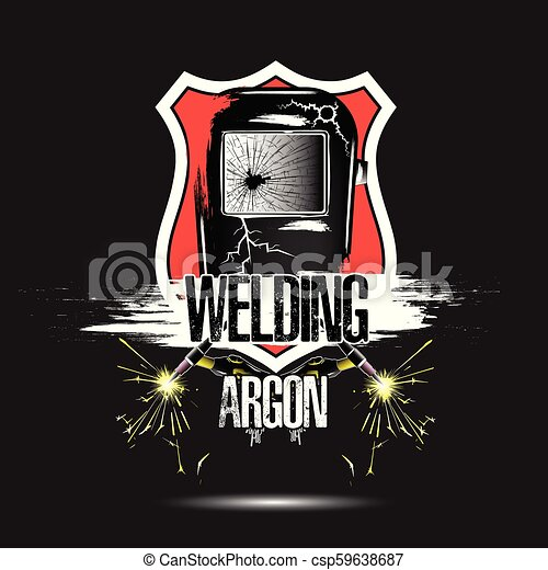 Logo Template Design Welding Argon Abstract Mask Of A Welder With Gas Burners Grunge Style Isolated On Black Background