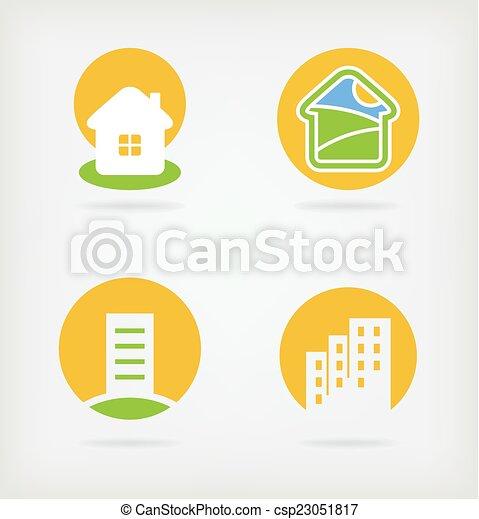 logo, vecteur, 4, maison - csp23051817